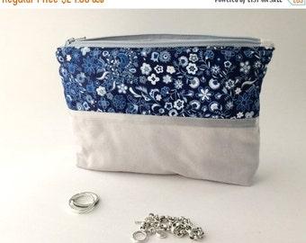Jewelry Organizer. Anti Tarnish. Travel Bag, Navy Blue and Gray