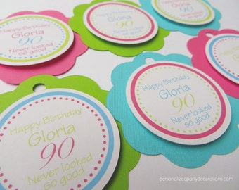 60th Birthday Party Decorations, 60th Birthday Party Favor Tags, Any Age Birthday Party Decorations, Milestone Birthday Party, Choose Colors