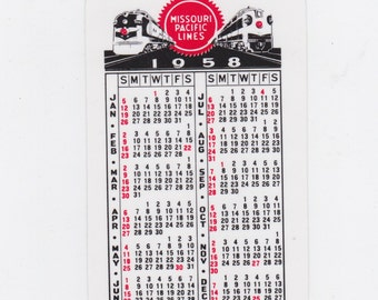 1958 Missouri pacific lines pocket railroad calender new old stock