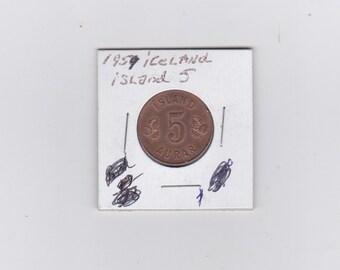 1959 Iceland island 5 Aurar coin