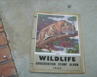 1942 national wildlife federation conservation stamps and album deer, birds,trees, ducks,fish,