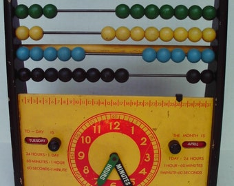 Vintage BRIO Abacus 1960's Educational Toy Colorful Wooden Clock Months Days of the Week