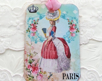 French Gift tags, Marie Antoinette Tags, Birthday, Bridal Shower,Tea Party Favor,Paris Vintage Shabby,Pink Ballgown, French Vintage