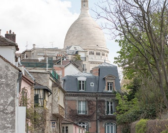 Paris Photography, Sacre Couer in Montmartre, soft blue and grey tones, Paris, France, French Wall Decor, Parisian Architecture