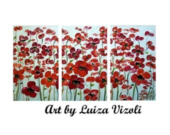 ORIGINAL Oil White Red Floral Triptych Large Oil Painting Hand Painted Canvas 72x, 54x, 60x