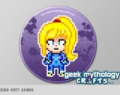 "Super Smash Bros ZERO SUIT SAMUS Metroid Pixel Art 1.5"" Pin Button or Magnet"