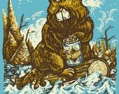 Beaver with Pilsner - Canada's Wilderness Series / Silkscreen Print Poster 8x10