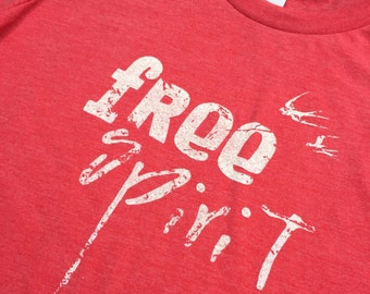 Youth Indie Boho FREE SPIRIT Tshirt... Vintage Red... Youth Small, Youth Medium, Youth Large
