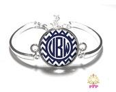Navy Chevron Monogram Bracelet, Monogram Bangle, Monogram Jewelry, Bridesmaid Gift, Personalized Bracelet - Style 423