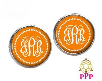 Monogram Earrings -  Orange Stud Earrings - Bridesmaid Gift - Personalized Jewelry - Style 550