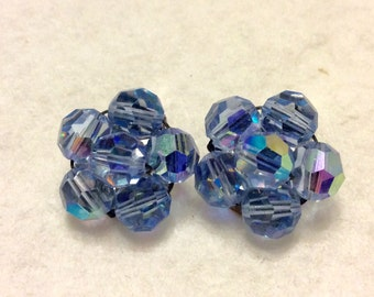 Faceted aurora borealis glass beads cluster clip on earrings. 1950's