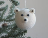 Polar Bear Christmas Ornament, Needle Felted Wool, Woodland Animal, Cute Tree Decoration, Winter, Endangered Species