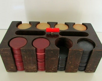 Vintage Clay Gaming Poker Chips with Wood Holder Box and Red Catalin Knob 200 chips