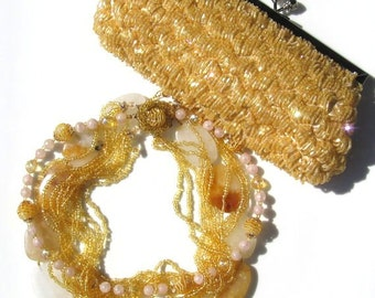 SUPER SALE -- Sunshine yellow vintage Japan glass bead necklace, semi precious agate and beaded clutch set