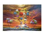 fine art abstract tree painting giclee print lollipop tree yellow sunset Mattsart