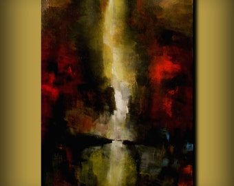 red yellow wall art painting abstract landscape large acrylic original modern tree 36 x 24""