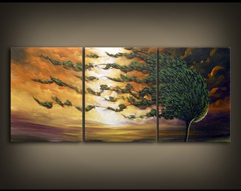 Buy original art online - 72 x 30 x 1.5 inch windblown tree painting large abstract landscape painting by Mattsart