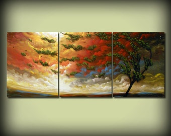 Beautiful original painting, abstract landscape, original abstract painting, triptych canvas, 3 piece canvas landscape, 3 piece canvas art