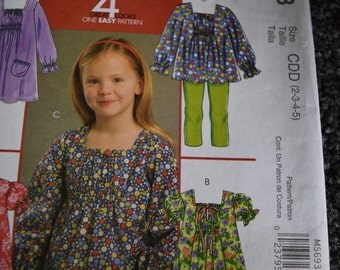 McCalls M5693 Children's and Girls Tops and Dresses  4 Great Looks in One Easy Pattern Size 2-3-4-5 (uncut)