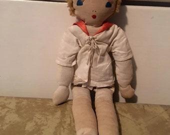 Vintage - Doll- Folk Rag Dolls- Vintage Handmade Cloth Doll