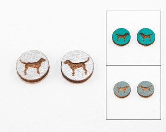 Dog Earrings - Laser Cut Wooden Studs (Choose Your Color) - Pet Jewelry - Gifts for Dog Lovers