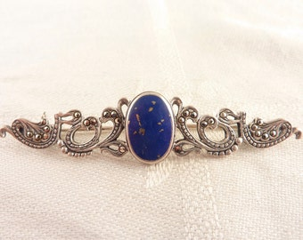 Vintage Oval Lapis Elongated Sterling and Marcasite Scroll Work Brooch