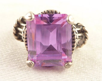 Size 6 Vintage Sterling Purple Emerald Cut Glass Gem Ring