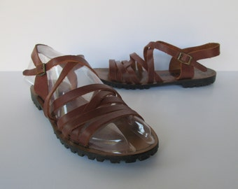Bonjour Brown Leather Strappy Sandals - Size 7