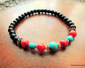Turquoise and Red Men's Stretch Bracelet, Native Style, Copper Jewelry, Jet Bracelet, Handcrafted Jewelry