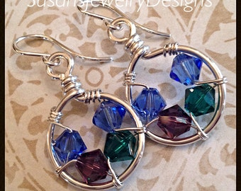 Family Nest Earrings - sterling silver ear hooks and wire - Swarovski birthstones - customize to your family birthstones