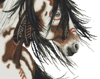 Cross stitch kit by AmyLyn Bihrle Majestic Horses - War Paint Native Feathers - Horse