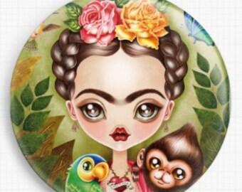 Frida Kahlo Needle Minder, Licensed Art, Sandra Vargas, Cross Stitch Keeper, Fridge Magnet, Frida Kahlo Needle Minder