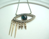 Evil Eye with Rhinestones on Faceted Black and Golden Brass Bead Chain