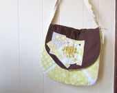 the dose of sunshine bag .... one of a kind, vintage floral, crossbody, flap front, cotton bag