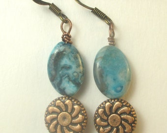 Copper Charm and crazy blue agate dangle earrings, holiday earrings, copper earrings, blue earrings, agate earrings,