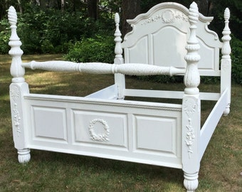 SOLD!  Call us!  We can do one similar for you!  Queen size restored Shabby Chic style bed with roses!