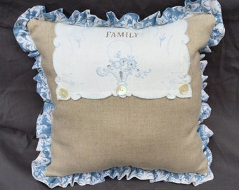 Handmade Linen Pillow with Hand Stenciled Vintage Doily Overlay, Vintage Buttons