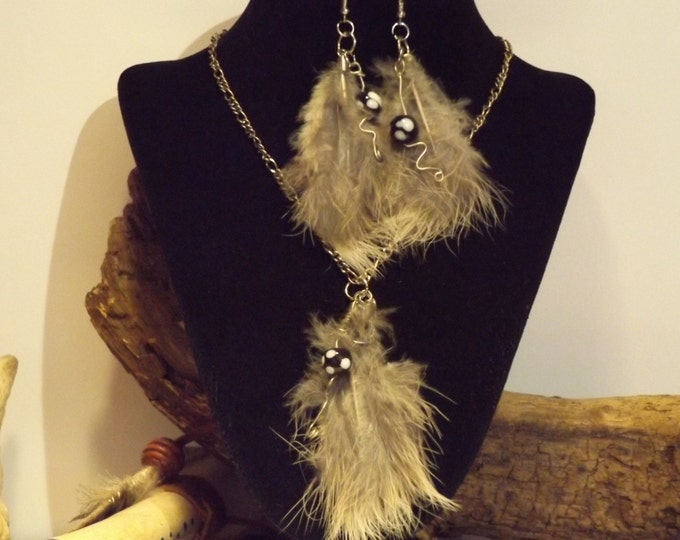 Feather and Bead Necklace and Earrings, Healing Jewelry, Healing Crystals, Chakra Healing, Native American inspired Spiritual Healing