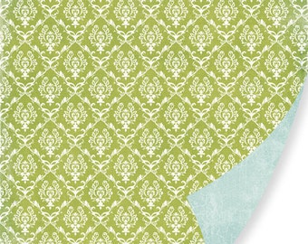 "Pink Paislee- 12x12 double sided scrapbook paper ""Green Damask"""