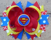 Super Girl Inspired Boutique Hair Bow for Costume or Birthday Party - choose 5 inch hair bow or 2 pigtail bows