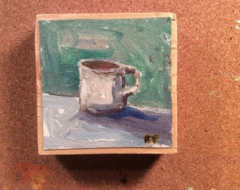 Small miniature painting on wood plaque, coffee cup Art & Collectibles ready to hang, on canvas affixed to wood, original acrylic art.