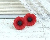 Red Poppy Earrings Flower Stud Earrings Red Flower Earrings Poppy Studs Hypoallergenic Red Studs