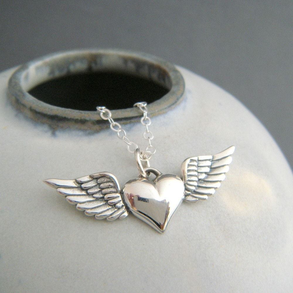 Silver Heart With Wings Necklace Sterling Silver Memorial