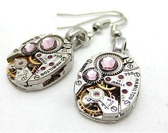Steampunk ear gear - Light Amethiyst - Hamilton - Steampunk Earrings - Repurposed