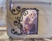 Beige Leather Crossbody Purse with a Gray Horse, a Dog and Rhinestones