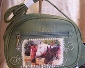 Green Leather Crossbody Purse with a Horse Scene and Rhinestones