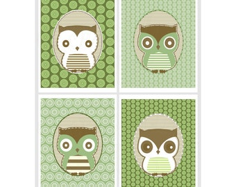 Nursery wall Art Boy Set Nursery Decor Three Owls Art Print boys nursery decor