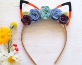 Fox Ear Headband | Felt Flower Accents