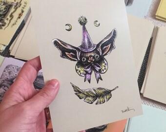 Bat 3 Drawlloween print