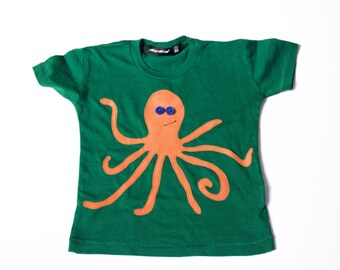 unisex baby clothes - toddler - OLLIE THE OCTOPUS - octopus shirt - top - boys clothing -  girls tops - orange - green - sale - kids' shirt